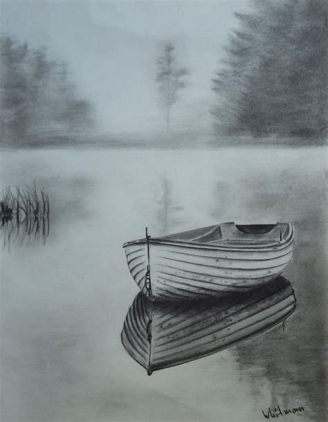 boat charcoal drawing misty row boat sketch water reflections original art