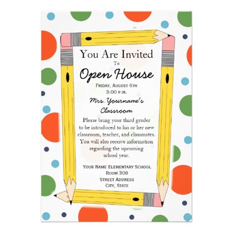 school open house template back to school open house invitation 5 quot x 7 quot invitation