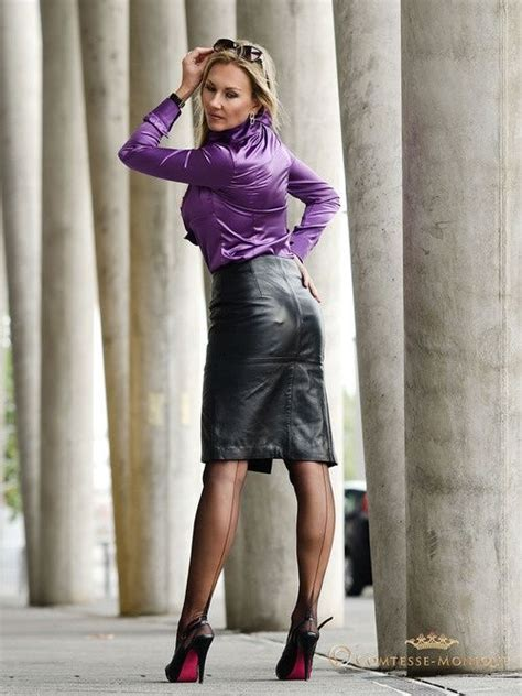 tight leather skirts stockings high heels garter bumps under tight black leather pencil skirt purple