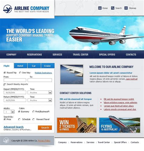 flight booking template airline tickets website template web design templates