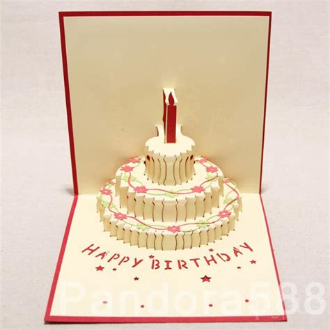 Handmade Pop Up Greeting Cards - 3d greeting card handmade 3d pop up three tiered cake