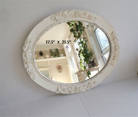 oval shabby chic mirror shabby chic oval mirror vintage framed ornate white
