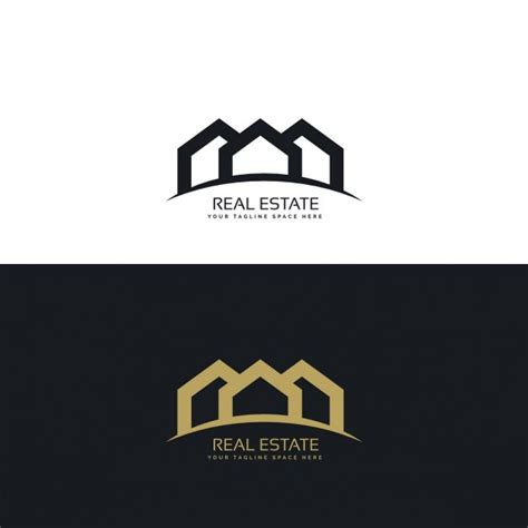 real estate house logo black and gold real estate logo with three houses vector