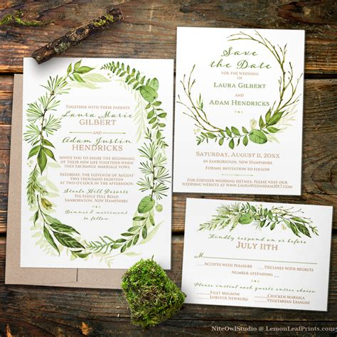 Wedding Invitations Greenery by Botanical Greenery Wedding Invitation Sets Wedding