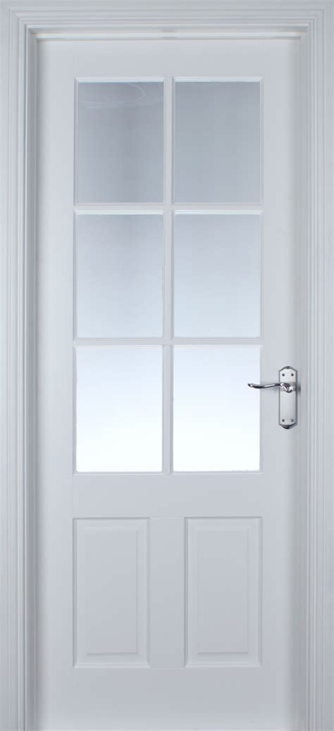 Glazed Interior Door Cambridge 6 Lite White Primed Pre Glazed 40mm Doors White Doors