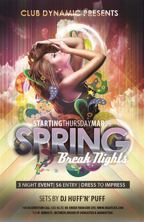 Free Club Flyer Templates For Spring Break Photoshop Psd Nextdayflyers Next Day Flyers Templates