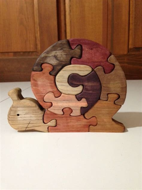 Handmade Wooden Puzzles - wooden snail scroll saw puzzle handmade 10 pieces