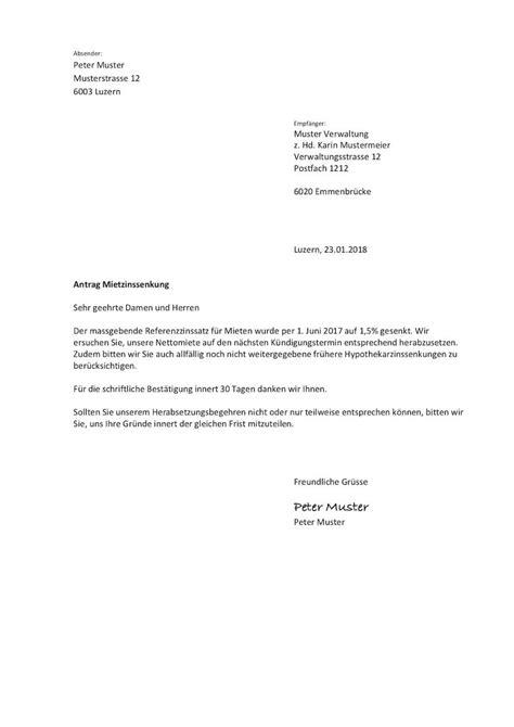 Brief Mietzinssenkung Schweiz mietzinsreduktion musterbrief muster vorlage ch