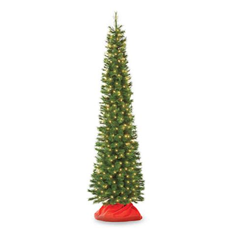 7 pre lit artificial pencil christmas tree hard needle