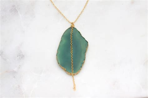 Green Agate Pendant Necklace gold agate necklace green reija jewelry