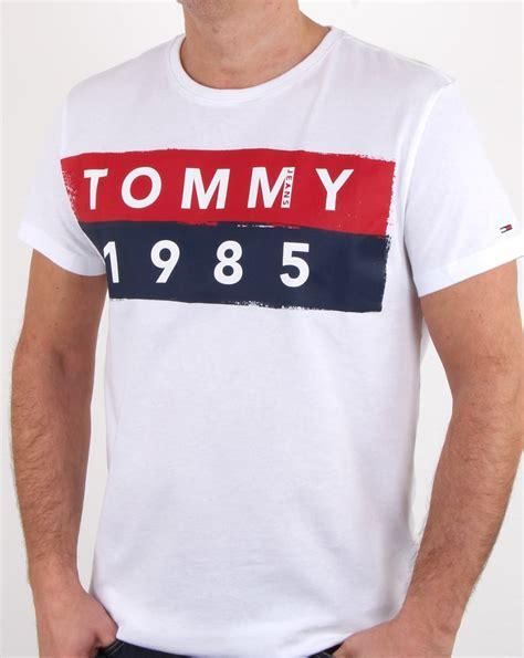 hilfiger 1985 logo t shirt white cotton crew