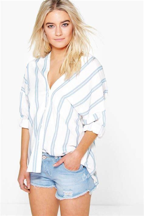 Crop Top B 2370 rosie striped button through collarless shirt boohoo bralets and slogan
