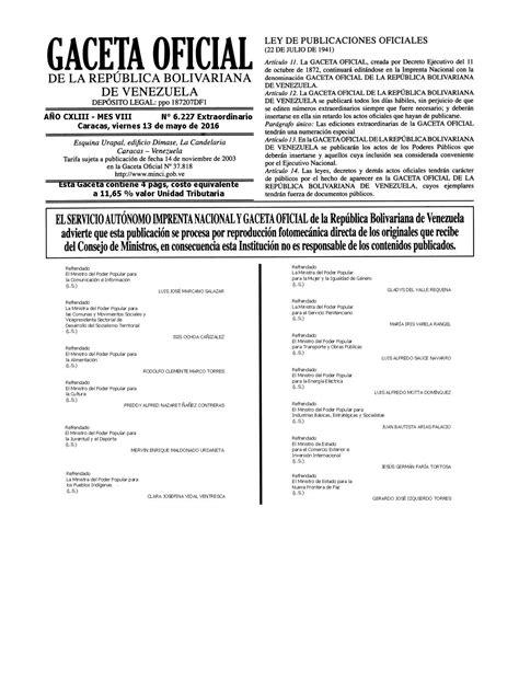 ultima hora gaceta oficial publica modificaciones de la gaceta oficial 40993 el decreto de estado de excepci 243 n 4