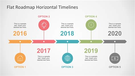 Flat Roadmap Horizontal Timelines For Powerpoint Roadmap Timeline Template