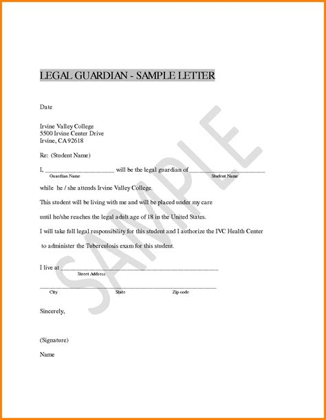 Cover Letter Exles Guardian 6 Guardianship Document Exle Ledger Paper Cover Letter Exle