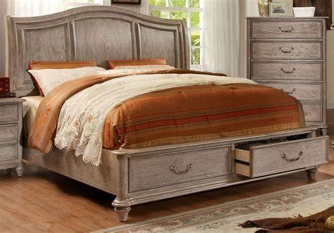 rustic king bed belgrade i rustic natural tone king platform storage bed from furniture of america