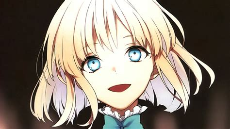 anime girl short hair wallpaper fate series sajou manaka blonde short hair blue eyes