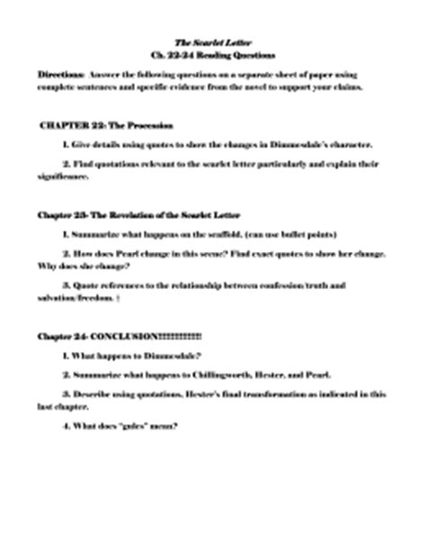 the scarlet letter chapter 13 questions and answers the