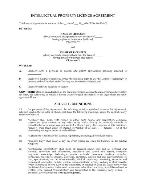 intellectual property licence agreement template uk intellectual property licence agreement forms