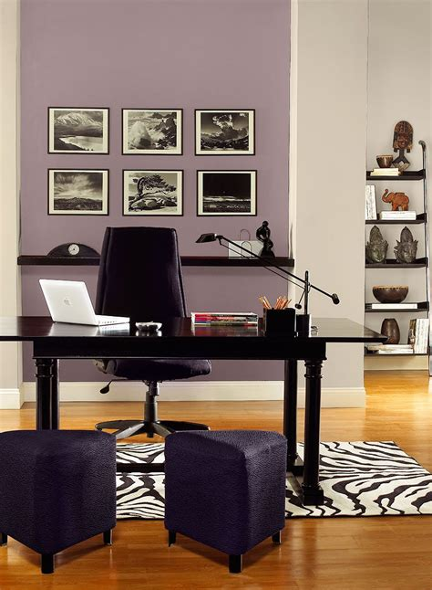 gray  purple home office color scheme work space