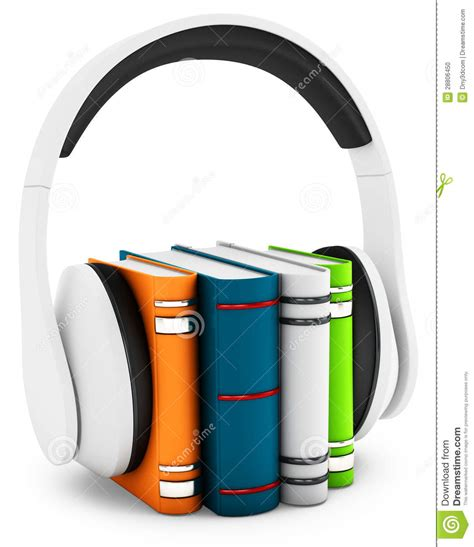 audio picture books 3d headphones with books audio book concept stock