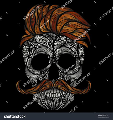 imagenes hipster halloween vector human skull red hair beard stock vector 462523615