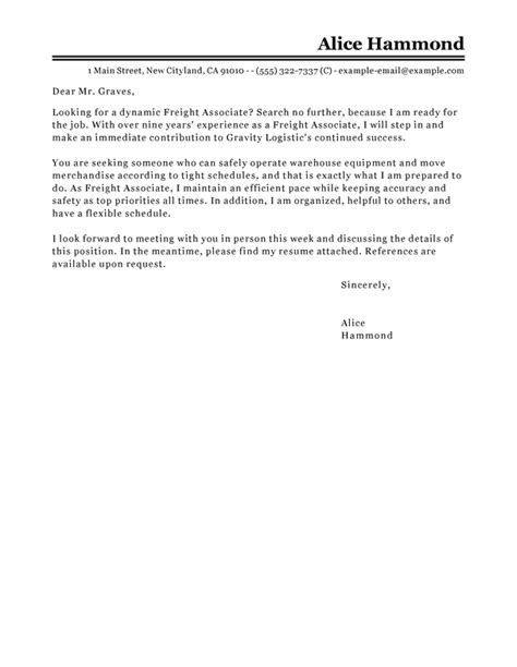 Freight Associate Cover Letter by Best Freight Associate Cover Letter Exles Livecareer