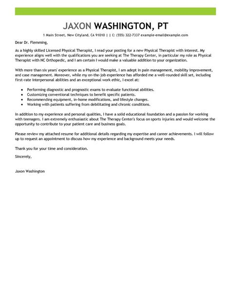 Pediatric Occupational Therapist Cover Letter by Leading Professional Physical Therapist Cover Letter Exles Resources Myperfectcoverletter