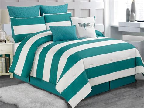 Teal Queen Comforter Set Delia Stripe 8pc Comforter Set Teal Queen