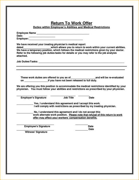 Return To Work Note From Doctor Beneficialholdings Info Return To Work Doctors Note Template