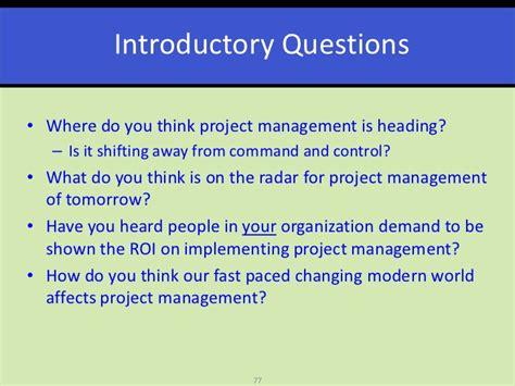 Fairmont State Mba Project Management Questions by Project Management In Our Changing World
