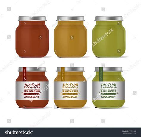baby food jar label template vector illustration glass jar baby food stock vector