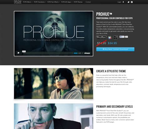 prohue color correction plugin for cut pro x released by pixel studios today