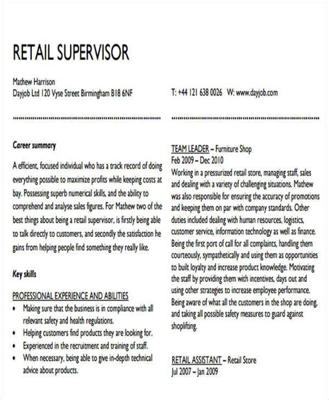 sales resume sles free resume sles for supervisor 28 images exle direct sales