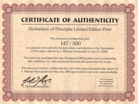 limited edition print certificate of authenticity template declaration of principles j michael straczynski