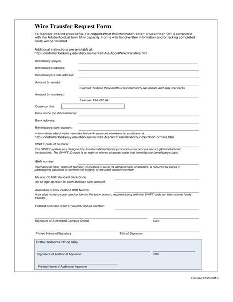 Wire Transfer Request Form Free Download International Wire Transfer Form Template