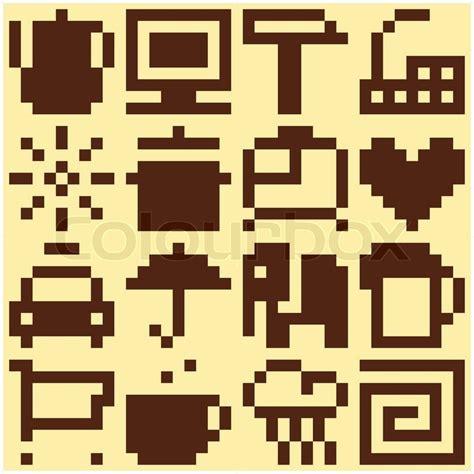 svg pattern object set of pixel objects vector pattern stock vector