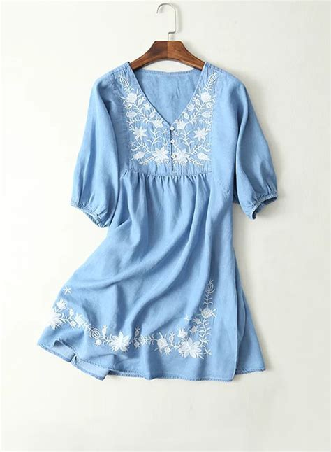 Embroidered Sleeve Dress v neck sleeve embroidered denim dress oasap