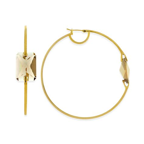 Allen Dons Gold Ribbed Hoop Earrings A La Hilary Duff by Vince Camuto Gold Tone Hoop Earrings In Gold No