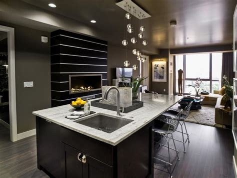 contemporary gray kitchen  large island hgtv