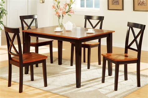 poundex f2250 brown wood dining table and chair set