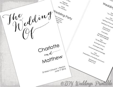 Wedding Program Template Calligraphy Black White Printable Wedding Program Diy Order Of Diy Wedding Program Template Booklet