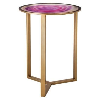 Pink Side Table Threshold Pink Faux Agate Glass Top Accent Table