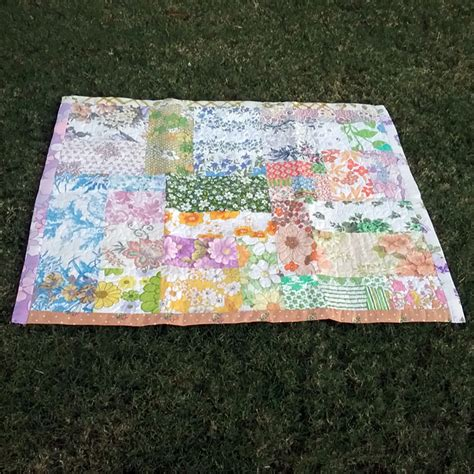 Patchwork Sheets - upcycled vintage sheet patchwork quilt vintage chenille