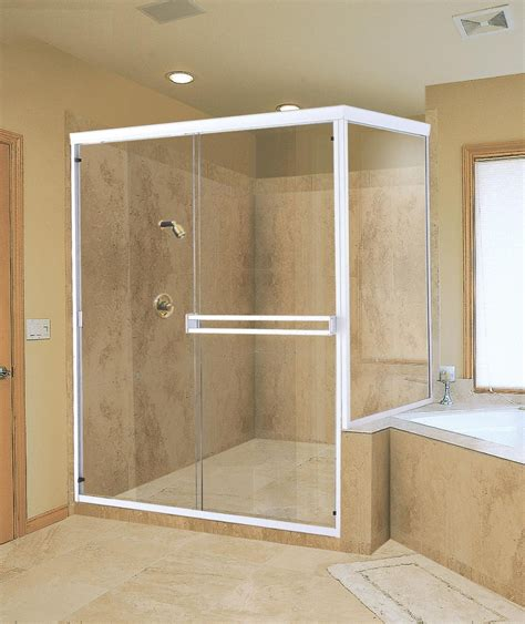 Beige Bathroom Tiles Wall Design Idea Feat Glass Shower Bathroom Shower Enclosures Ideas