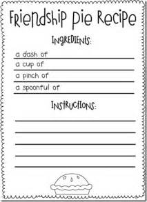 recipe for friendship template enemy pie activities on friendship activities