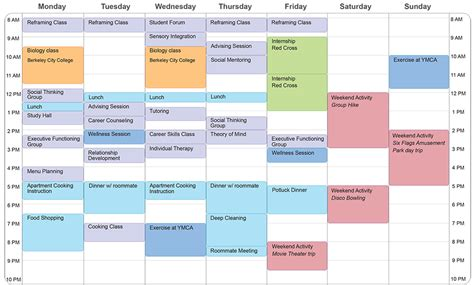 template of schedule schedules daily habits white space simplified