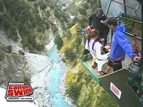 new zealand cliff swing giant canyon swing off mountain cliff at glenwood caver