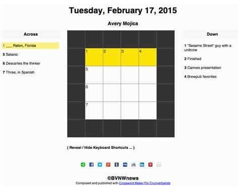 usa today crossword feb 13 2015 tuesday february 17 2015 crossword bvnwnews