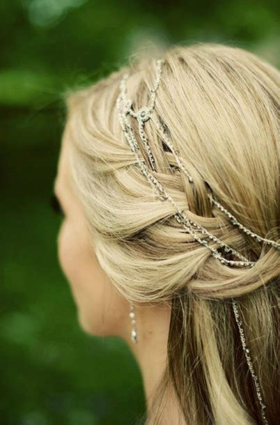 prom hairstyles with hewels jewels headband silver chain link braid hair